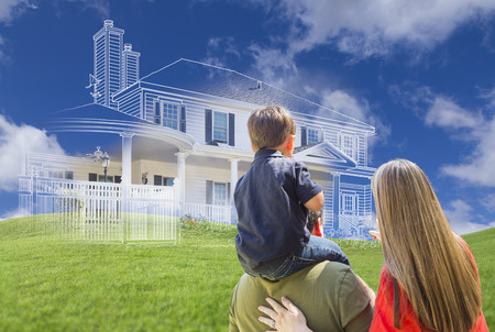 homes exterior: Young Family Facing Ghosted House Drawing, Partial Photo and Rolling Green Hills.