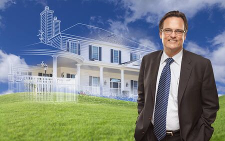 partial: Smiling Businessman with Ghosted House Drawing, Partial Photo and Rolling Green Hills Behind.