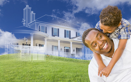 buying: Mixed Race Father and Son Piggyback with Ghosted House Drawing, Partial Photo and Rolling Green Hills Behind.