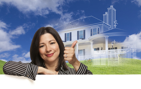 hoping: Thumbs Up Hispanic Woman with Ghosted House Drawing, Partial Photo and Rolling Green Hills Behind.
