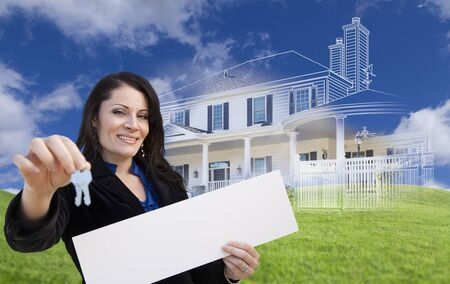 partial: Hispanic Woman Holding Keys and Blank Sign with Ghosted House Drawing, Partial Photo and Rolling Green Hills Behind.