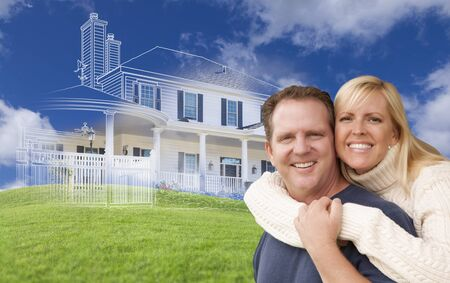 buying: Hugging Couple with Ghosted House Drawing, Partial Photo and Rolling Green Hills Behind.