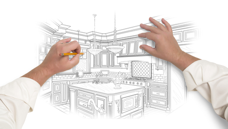 proposed: Male Hands Sketching with Pencil the Outline of a Beautiful Custom Kitchen.