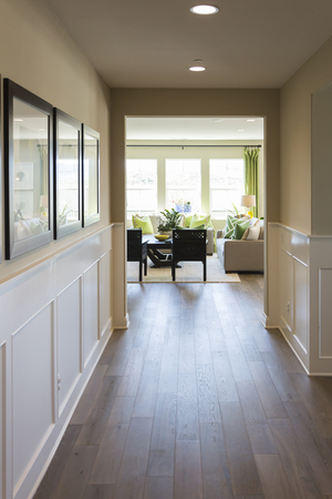 Beautiful Home Entry Way with Wood Floors and Wainscoting. Banco de Imagens