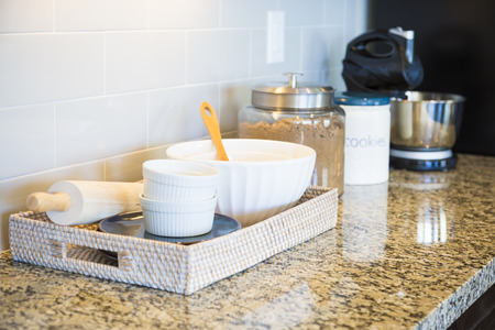 counter top: Beautiful Marble Kitchen Counter Top, Subway Tile Backsplash and Baking Accessories.