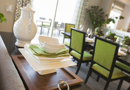 home accents: Beautiful Dining Area of Home with Apple Green Accents.