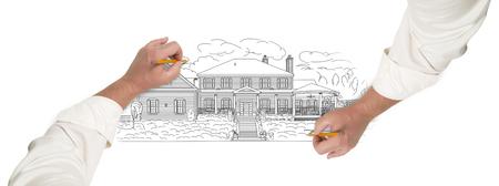 zeichnen: Männliche Hände Skizzen mit Bleistift den Umriss eines schönes Haus auf Weiß.