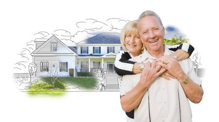 Happy Hugging Senior Couple Over House Drawing and Photo Combination on White.