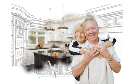 Happy Hugging Senior Couple Over Kitchen Design Drawing and Photo Combination on White.