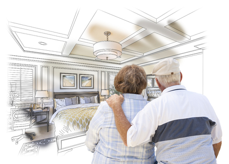the elderly residence: Curious Senior Couple Looking Over Custom Bedroom Design Drawing Photo Combination.