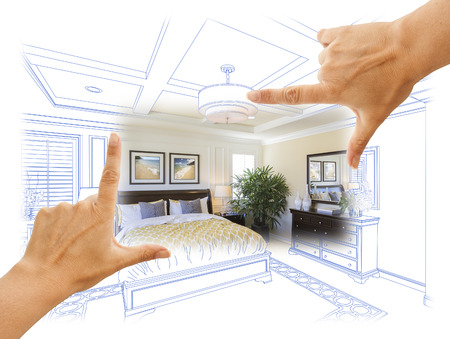 architecture drawing: Beautiful Hands Framing Custom Bedroom Drawing Photograph Combination.
