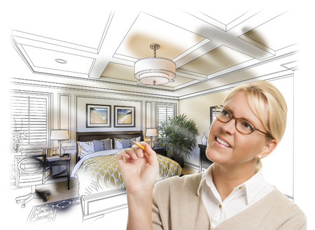 Creative Woman With Pencil Over Custom Bedroom Design Drawing and Photo Combination.