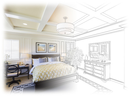 Beautiful Custom Bedroom Drawing Gradation Into Photograph.