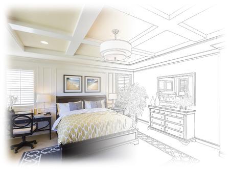 Mooie Custom Bedroom Drawing gradatie Into Foto.