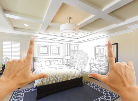 real estate: Beautiful Hands Framing Custom Bedroom Drawing Photograph Combination.