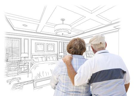persona de la tercera edad: Pareja mayor curioso Mirar por encima del encargo Dormitorio Diseño Dibujo.
