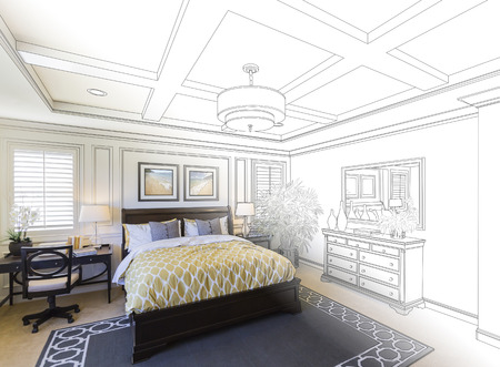 housing project: Beautiful Custom Bedroom Drawing Gradation Into Photograph.