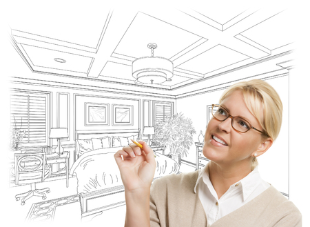 architect: Creative Woman With Pencil Over Custom Bedroom Design Drawing on White. Stock Photo