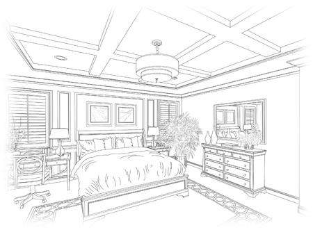 아름다운 침실의 자세한 선 그리기. 스톡 콘텐츠