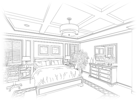 design drawing: Detailed Line Drawing of A Beautiful Bedroom.