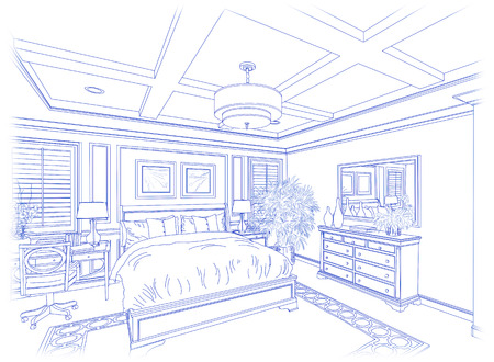 housing project: Beautiful Custom Bedroom Design Drawing in Blue Isolated on White.