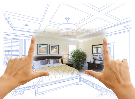 realty residence: Beautiful Hands Framing Custom Bedroom Drawing Photograph Combination.