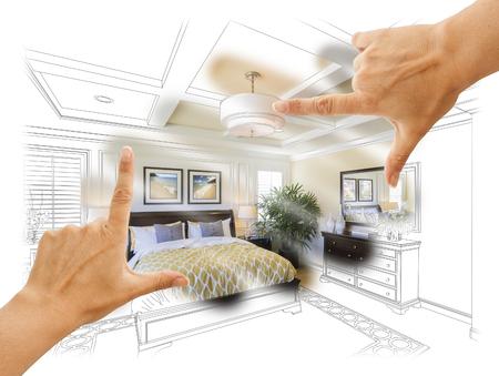 framing: Beautiful Hands Framing Custom Bedroom Drawing Photograph Combination.
