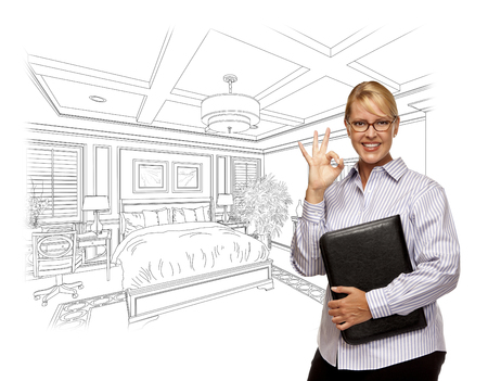 hoping: Woman with Okay Sign Over Beautiful Custom Bedroom Drawing Photo Combination.