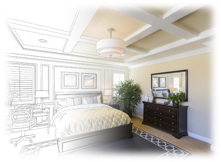 house construction: Beautiful Custom Bedroom Drawing Gradation Into Photograph.
