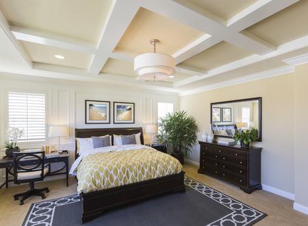 Dramatic Interior of A Beautiful Master Bedroom. Standard-Bild