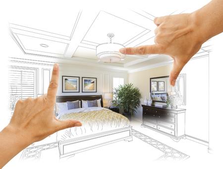 renovations: Beautiful Hands Framing Custom Bedroom Drawing Photograph Combination.