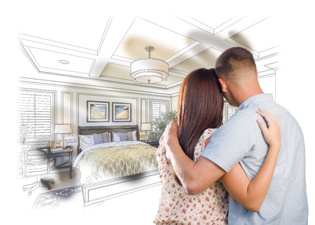 renovation property: Curious Young Military Couple Looking Over Custom Bedroom Design Drawing Photo Combination.