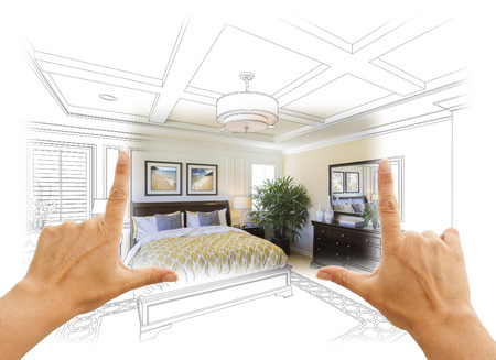residential homes: Beautiful Hands Framing Custom Bedroom Drawing Photograph Combination.