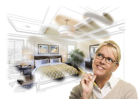 daydreaming: Daydreaming Creative Woman With Pencil Over Custom Bedroom Design Drawing and Photo Combination.