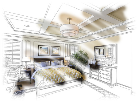 housing project: Beautiful Custom Bedroom Design Drawing and Photo Combination.