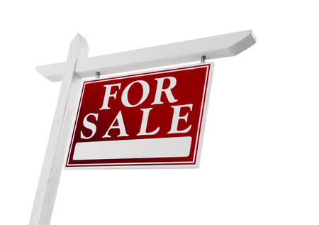 realestate: Home For Sale Real Estate Sign Isolated on a White Background.