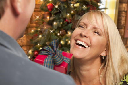 social gathering: Attractive Girl Exchanging A Gift At A Christmas Party. Stock Photo