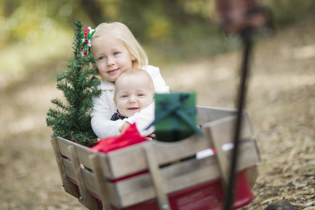 single father: Baby Brother and Sister Being Pulled in Wagon with Christmas Tree and Gifts Outdoors.