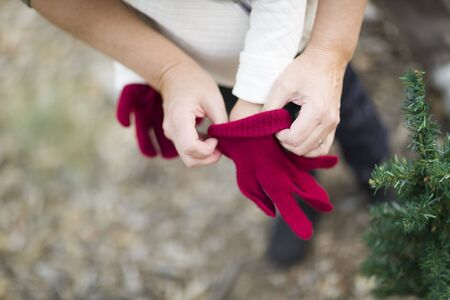 hand gloves: Caring Mother Putting Red Mittens On Child Near Small Christmas Tree Abstract. Stock Photo