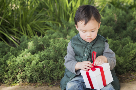 mixed race boy: Adorable Mixed Race Boy Opening A Christmas Gift Outdoors At The Park. Stock Photo