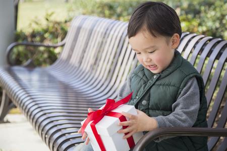 bebe sentado: Muchacho adorable descendencia mixta Un regalo de Navidad de apertura al aire libre en un banco.