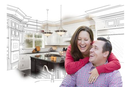 blueprint: Happy Laughing Couple With Kitchen Design Drawing and Photo Behind. Stock Photo