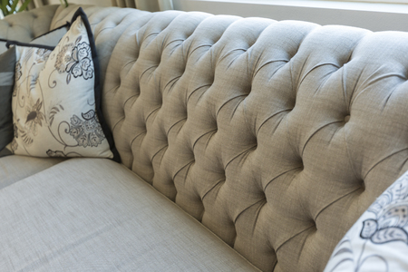 Beautiful Abstract of Luxurious Couch and Pillow Detail.