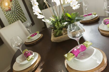 napkin ring: Beautiful Abstract of Dining Table with Place Settings.