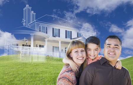 housing: Young Happy Mixed Race Family and Ghosted House Drawing on Grass. Stock Photo