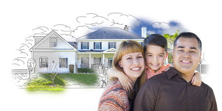 house shopping: Young Happy Mixed Race Family and Ghosted House Drawing on White. Stock Photo