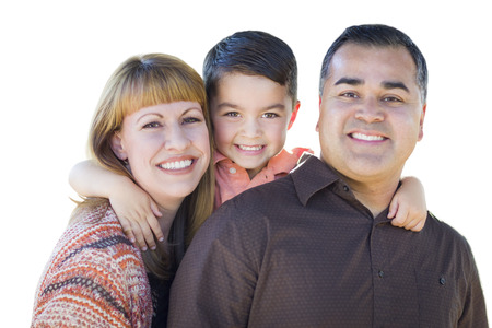 hispanic kids: Happy Attractive Young Mixed Race Family Isolated on White.