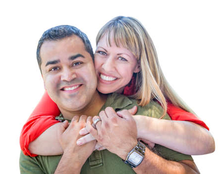mixed race couple: Attractive Mixed Race Couple Hugging Isolated on a White Background.