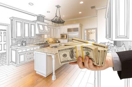 handing: Hand Handing Stacks of Money Over Custom Kitchen Design Drawing and Photo Combination.