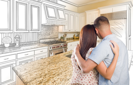 renovation: Young Military Couple Looking Inside Custom Kitchen and Design Drawing Combination.